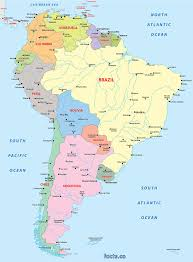 Map Of Colombia South America by Digital Vector South America Political Map With Sea Contours