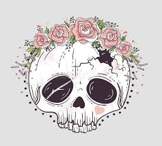 style skull skull with flower crown stock illustration