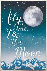 fly me to the moon as poster in wooden frame by treechild juniqe