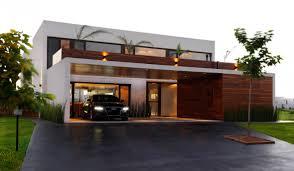 Modern Lake House Front Yard Modern Lake House Design With Open Garage Wood Wall