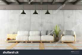 contemporary living room contemporary living room pallet sofaconcrete wall stock