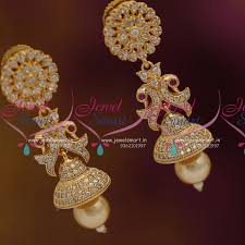 jhumka earrings online shopping j6886 cz white pearl drops jhumka earrings buy online