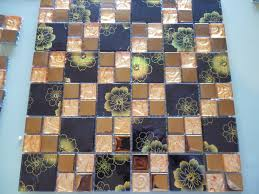 black glass tile 3d glass mosaic kitchen backsplash tiles crystal