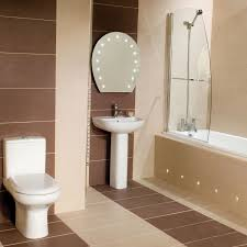 brown and white bathroom ideas brown tile wall combined with white toilet and sink also bath up