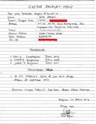 form daftar riwayat hidup pdf contoh daftar riwayat hidup yang baik dan benar tulis tangan doc