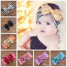 toddler headbands hair bands baby striped headbands with sequins bowknot
