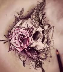 incredible skull tattoo with roses and lace and beautyyyyy by