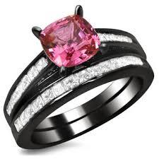 black wedding rings with pink diamonds black and pink wedding ring sets wedding corners