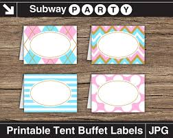 free printable table tents gender reveal baby shower party food labels blue pink and gold