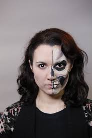 half face halloween makeup ideas how to create a half face skull face paint design facepaint com