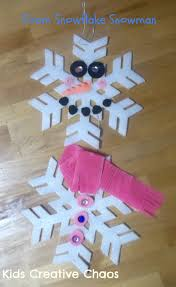 make a snowman winter craft preschool activity from snowflakes