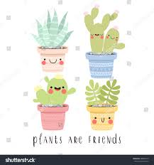 set four illustrations cute cartoon cactus stock vector 489806173