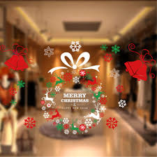 2016 new store supermarket display window wreath sticker christmas