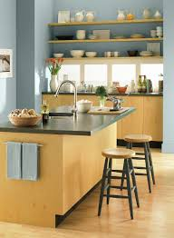 Kitchen Wall Paint Ideas Crisp Contemporary Kitchen Space Wall Color Santorini Blue