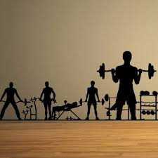 gym vinyl wall decal people workout dumbbell barbell fitness mural gym vinyl wall decal people workout dumbbell barbell fitness mural art wall sticker sport fitness room bedroom home decoration in wall stickers from home