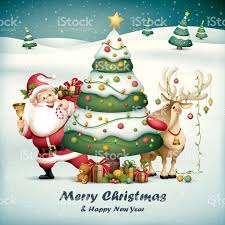 santa claus and rudolph with tree on snowfall background