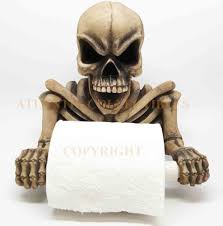 skull toilet paper holder halloween bathroom accessories decor