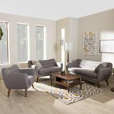 Sofa Mid Century Modern by Baxton Studio Harper Mid Century Modern Light Grey Fabric
