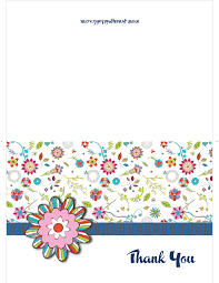 retro flowery thank you cards printable free best sample template