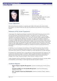 Resume Layout Example Standard Resume Resume Cv Cover Letter