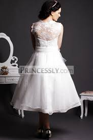 wedding dress sash lace scoop neck tea length gown skirt organza wedding dress w