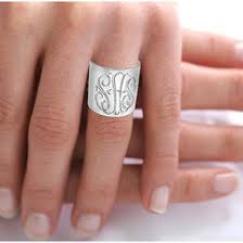 monogrammed silver ring initials ring ideas collections