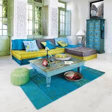 canapé style indien banquette d angle modulable 6 places en coton bleue et verte bleu