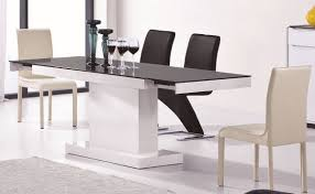 2016 modern white and black extendable dining table