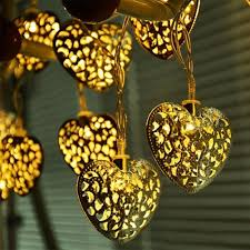 20 leds battery operated filigree metal heart shape fairy string