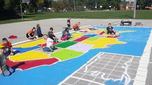United States Map Games by Students Paint Giant U S Map At Pence Elementary