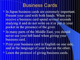 Parts Of Business Card Cultural Awareness And Business Etiquette Around The World