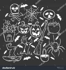 halloween bats background halloween collection icons pumpkin cauldron spider stock vector