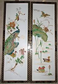 Pheasant Home Decor by 2 Oriental Wall Decor Plaques Lacquered Frames Hand Painted