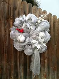 white deco mesh christmas winter deco mesh wreath silver and white