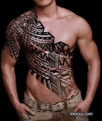 black polynesian chest tattoos
