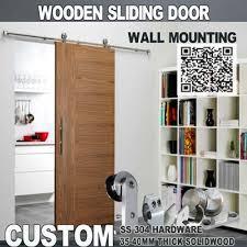 Wood Kitchen Sliding Barn Door With Wood Door Panel Thickness 1 3