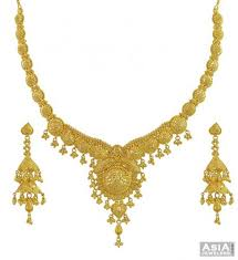 yellow gold necklace sets images Yellow gold filigree necklace set ajns53834 22k gold hand jpg