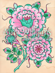 Tudor Design by Teal And Pink Geometric Tudor Rose Tattoo Art A4 Print Tudor