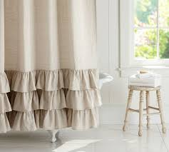 White On White Shower Curtain Linen Ruffle Shower Curtain Pottery Barn