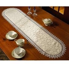 violet linen flower bow embroidered lace vintage design table