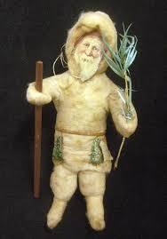 Antique Victorian Christmas Ornaments - antique victorian era spun cotton santa christmas tree ornament