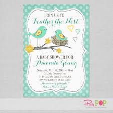 bird baby shower bird feather the nest baby shower invitation party pop