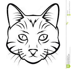 black cat face outline images