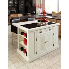 stylish mini square kitchen island painted in broken white with