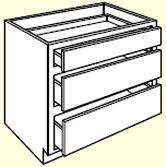 3 Drawer Base Cabinet Honey Oak Kitchen Cabinet Depot