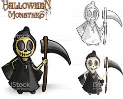 monsters halloween halloween monsters spooky reaper illustration eps10 file stock