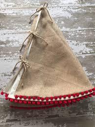 Blue Velvet Tree Skirt Burlap Christmas Tree Skirt With Red Pom Pom Fringe 56 Inch