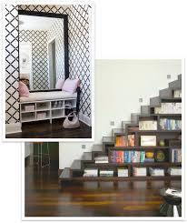 entryway nook and staircase shelving spectrum organizing