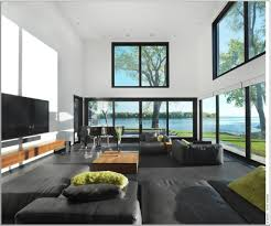 black living room with brown sofa bed and stunning square wooden