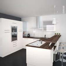 cuisine moderne en u cuisine ivoire modèle keria avec façade ivoire brillante